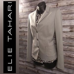 Three Button Heather Gray Blazer by Elie Tahari